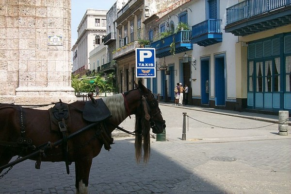 Taxi rank with waiting horse and carriage in Havana commons.wikimedia.org