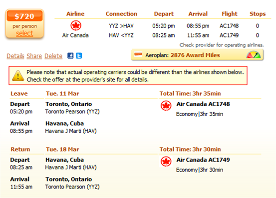 Toronto to Havana flight details